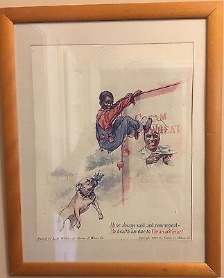 Antique Matted/Framed © 1916 Cream of Wheat Black Americana Ad by Leslie Wallace