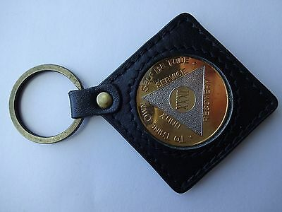 Keyring Keychain Holder AA Alcoholics Anonymous Coin Medallion Leather Black