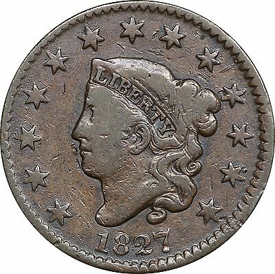 1827 Large Cent, Fine Details, Old Cleaning