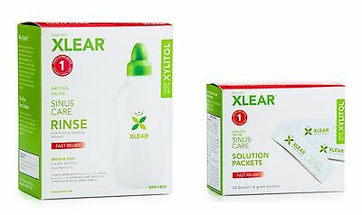 Xlear Natural Saline Sinus Care Rinse + 20 Solution Packets - Brand New in Box
