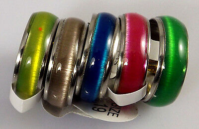 "36 pcs Color Mix ""Cat Eye "" Fashion Stainless Steel Rings Wholesale Jewelry lots"