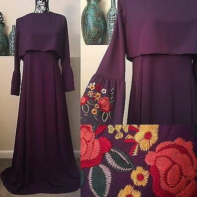 Long Formal Dress Wedding Party Abaya Hijab Muslim Embroidered Gown Full Length