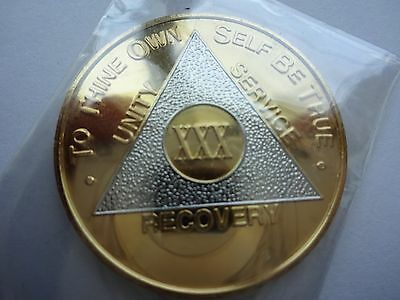 AA Alcoholics Anonymous Bi-Plate Silver/Gold Coin Chip 30 Years Medallion Token