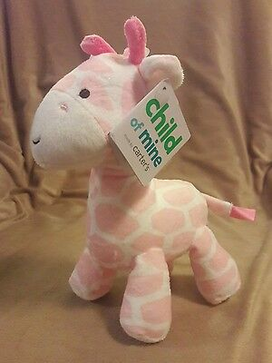 CARTER'S CHILD OF MINE Pink & White GIRAFFE RATTLE Baby Toy Plush NWT 7.5""