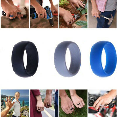 Men Women Wedding Ring Rubber Silicone Band Active Sport Gym Fashion Gift 3PC
