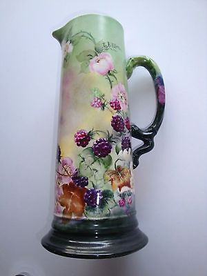 """Beautiful 14"""" Hand-Painted & Artist-Signed Floral/berry Tankard---J.p.l. France"""