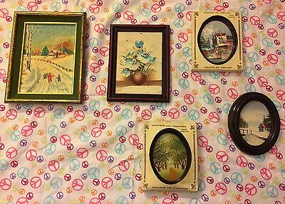 Vintage Hand Painted Genuine Oil Paintings Oval Square Frame Nature Bundle Of 5