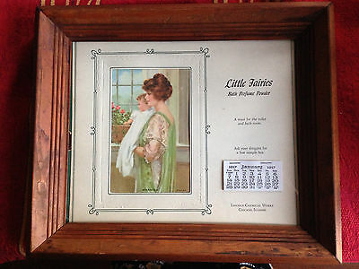 A 1917 calendar  featuring  Mother and baby advertising  bath perfume powder