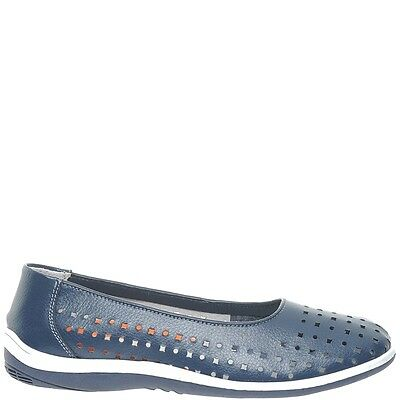 Comfort Me Madrid Womens Leather Everyday Shoe - Navy