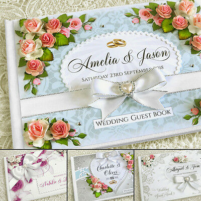 Beautiful Personalised Wedding Guest Book - several designs, ivory/white, floral