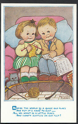 Children Postcard - Artist Phyllis.M.Purser - Girl Knitting, Boy Reading U989