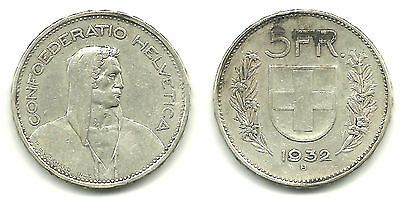 SWITZERLAND - Silver 5 Francs, 1932 - Nice Investment Coin!