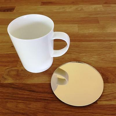 """Round Gold Mirror Finish Acrylic Coasters, Sets of 4, 6 or 8, 10cm 4"""""""