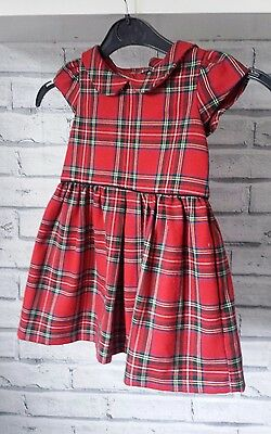 Next Girls Baby Red Check Tartan Party Dress 12-18 months