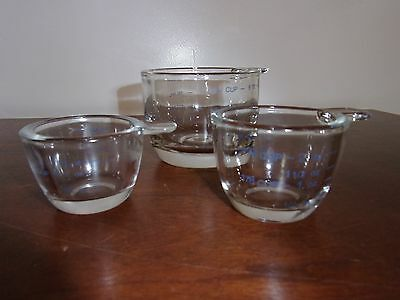 Antique Measuring Cups Set Of 3 Heavy Glass Measuring Cups Excellent Condition