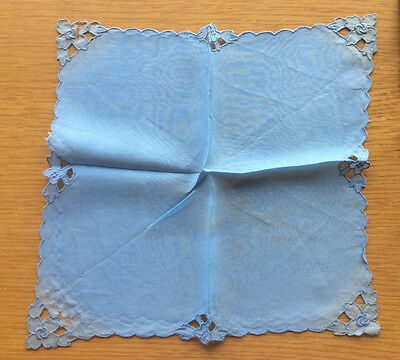 100% Pure Silk Ladies Blue Floral Handkerchief, Vintage Antique 1930s 1940s