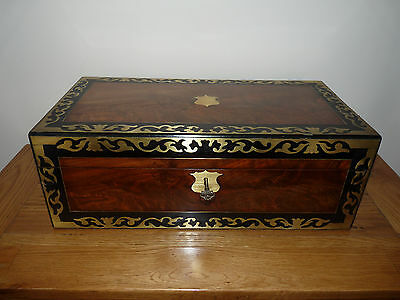 Large Antique Walnut & Brass Inlaid Writing Slope - Excellent Condition