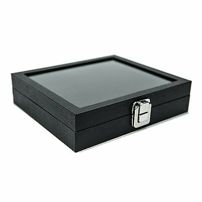 HUJI Glass Top Ring Display Showcase With Velvet Insert Liner Jewelry Organizer