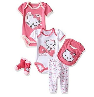 NWT Hello Kitty Girls' Pink Infant Baby 5 Piece Gift Set Size:0-3 Month Newborn