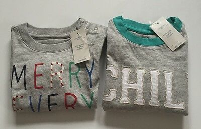 NWT 2 Piece Of Baby Gap Boy Size 6-12 Months Long Sleeve Graphic Tee Top Cotton