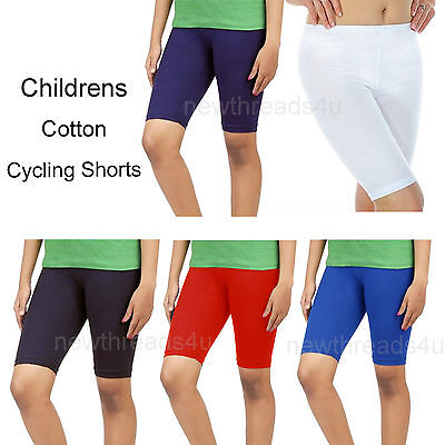 Girls Boys Cotton Lycra Cycling Shorts Kids Childrens School Gym Dance Shorts