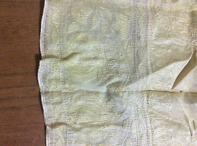 Antique Vintage Cotton Tablecloth, Yellow Gold, Floral Embroidery, 1920s - 1940s