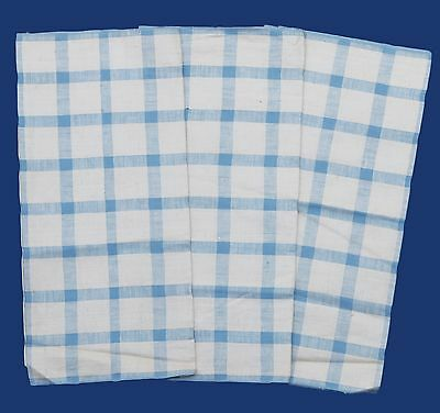3 VINTAGE UNUSED CHECK STRIPE BLUE CREAMY BACKGROUND MINTY TEA or  DISH TOWELS