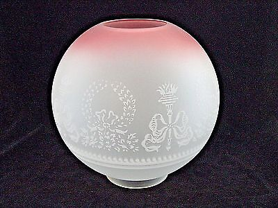 """NEW  10 INCH  """"BOWS and WREATH""""  GLASS  OIL LAMP  BALL  SHADE    4 INCH  FITTER"""