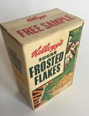 VINTAGE 1950s KELLOGG'S FROSTED FLAKES FREE SAMPLE UNOPENED BOX TONY THE TIGER