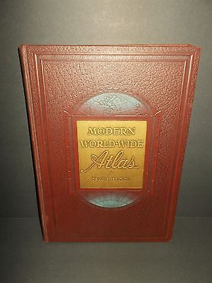 Vtg 1949 Modern World Wide Atlas Deluxe First Edition Book Post War Geographical