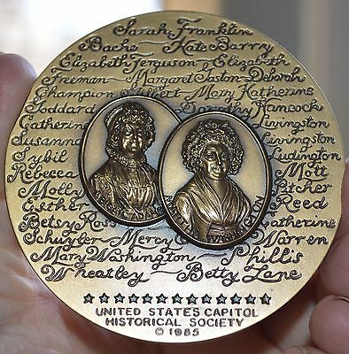 """1985 Us Capitol Historical Society Women Of American Revolution  3"""" Bronze Medal"""
