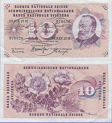 Switzerland 10 Francs Banknote 26.10.1961 Extra Fine Condition Cat#45-G-0626