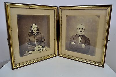 ANTIQUE 1800's VICTORIAN WOODEN FRAME OLD SCOTTISH COUPLE LARGE PHOTOGRAPH