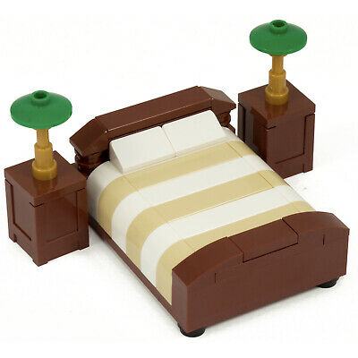 LEGO Bed - Custom model furniture - double bed - brick bedroom - bedside tables