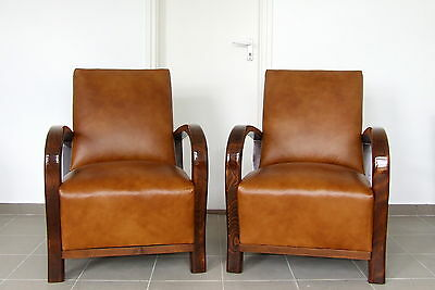 Pair Art Deco Leather Armchairs Club Chairs 1920s Antique Walnut Vintage Deco