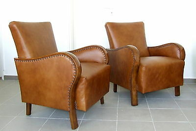 Pair of Art Deco Leather Armchairs,Club Chairs 1920s Antique Walnut Vintage Deco