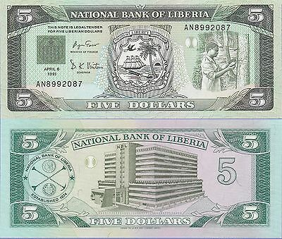 Liberia 5 Dollars Banknote 1991 Uncirculated Condition Cat#20