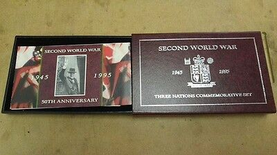 3 Silver Coin Proof Set, Three Nations Commemorative Set, 1995 Royal Mint, Coa