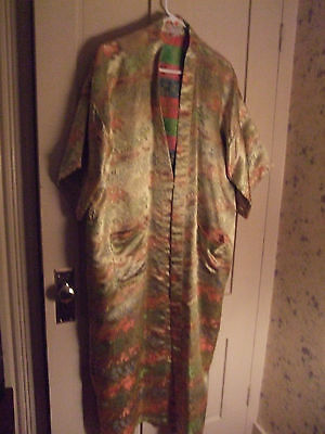 DOUBLE PEACH Kimono 100% SILK~Robe~One size~NEW