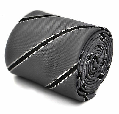 Frederick Thomas men's grey and black club striped tie FT1773