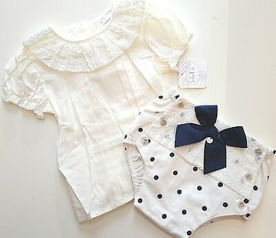 Spanish baby girls bow fronted Jam pants set. NEW. 12 months or 18 months