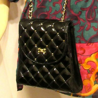 Vintage 80s Classic Black Patent Leather Quilted Cross Body Bag Purse