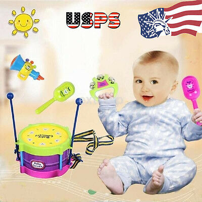5pcs Baby Kids Toys Roll Drum Musical Instruments Band Kit Children Toy Kits Set