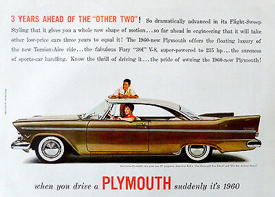 """Vintage 1957  """"Suddenly it's 1960 """" Plymouth car advertisement print ad art"""