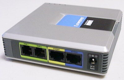 Unlocked Linksys SPA2102 VoIP Phone Adapter with Router (No Power Supply)