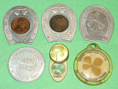 4 Aluminum Good Luck Tokens +3 Four Leaf Clover Lucky Charms 2 are Encased Cents