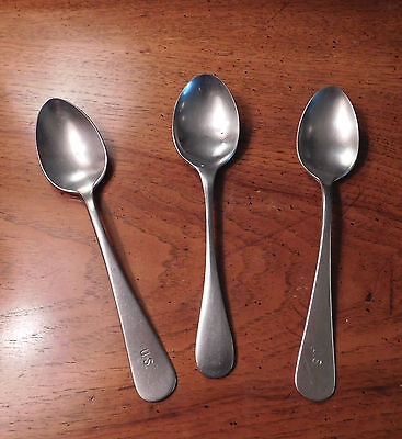 "Vintage WWII / Korea US Army ""Mess Hall"" Spoons -- Set of 3 Stainless Steel"