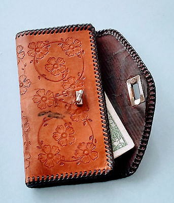 Vintage Hand Tooled Leather Clutch, 1960 Western Wallet, Leather Clutch Purse