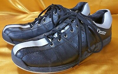 Dexter Size 10 M Bowling leather Shoes Black Silver Great Condition New Laces