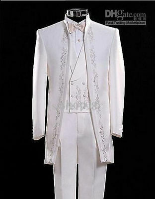 Fashionable men's sui Embroidered white bride groom three-piece suit custom made